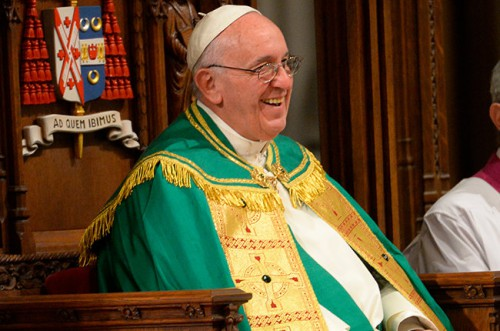 NEW YORK, NY - SEPTEMBER 24: Pope Francis prepares to lead evening Vespers at Saint Patrick's Cathedral on September 24, 2015 in New York City. The pope is on a six-day visit to the U.S., with stops in Washington, New York City and Philadelphia. (Photo by Robert Deutsch-Pool/Getty Images)